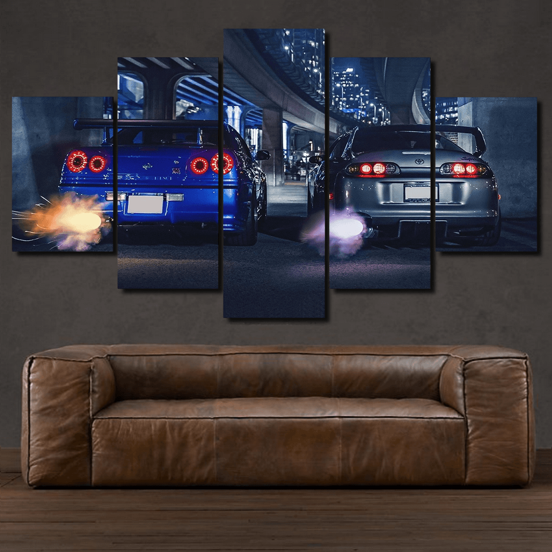 GT-R R34 & Supra -  5 piece Canvas