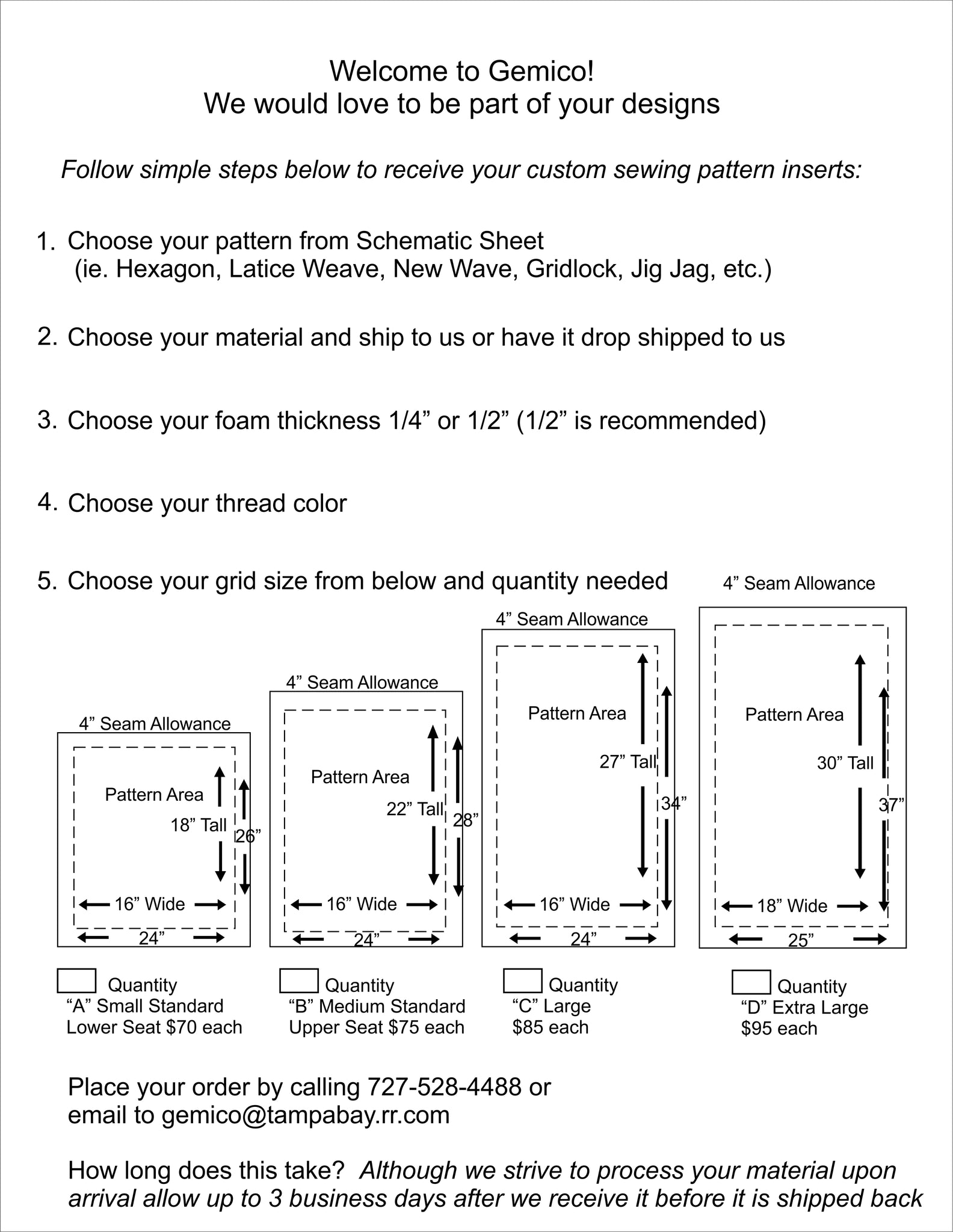 Order Instruction Sheet