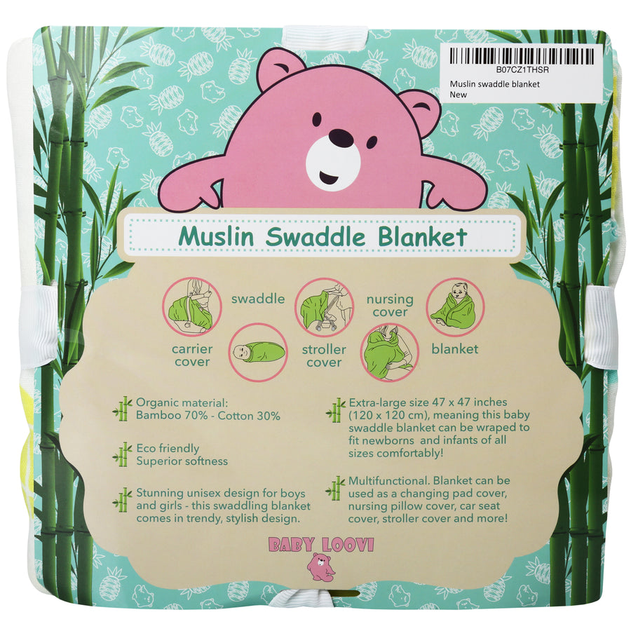 Muslin Swaddle Blanket (Pineapple)