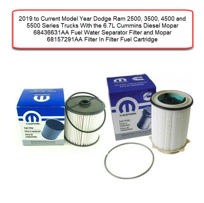 Mopar 2019 to 2021 Dodge Ram 6.7L Cummins Fuel Filter Kit