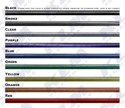 2005 to 2010 Ford F250/350 Stainless Steel Braided Brake Lines Color Options