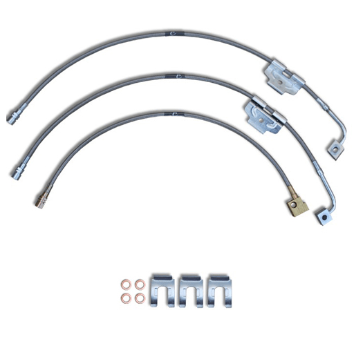 Chevy Silverado GMC Sierra 1500 Stainless Steel Braided Brake with Single Center Rear Line