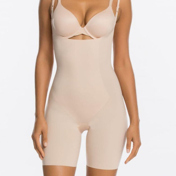 Spanx Thinstincts Mid-Thigh Open Bust Shapewear Bodysuit
