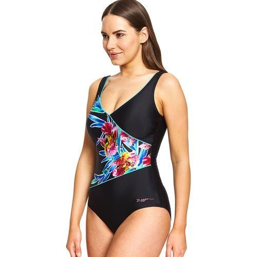 Zoggs Hybrid Tropics Wrap Front One Piece Swimsuit