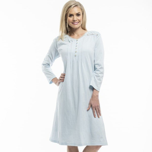 Victorias Dream Long Sleeve Cotton Knit Nightdress