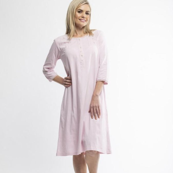 Victorias Dream 7/8 Sleeve Cotton Knit Nightdress