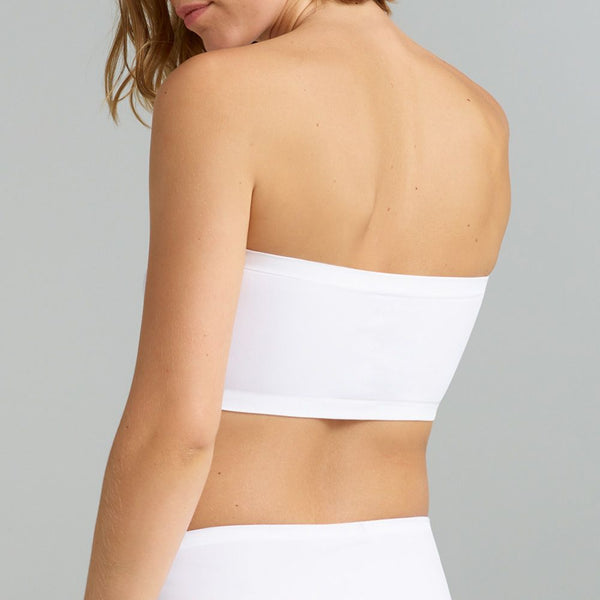 Ambra Seamless Singles Bandeau Bra White. Strapless bra alternative