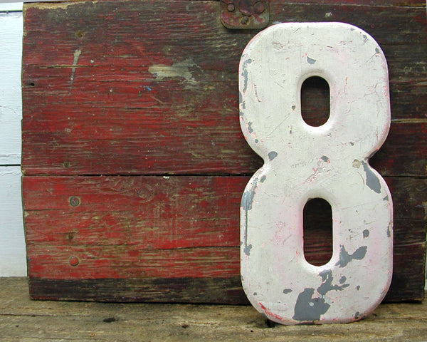 "Vintage Metal Number 8 Number Eight Sign 10"" Large Thick Tin Sign Chippy"