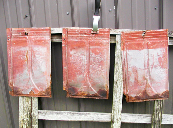 Vintage Tin Roof Shingles - Old Red Paint - DIY Project