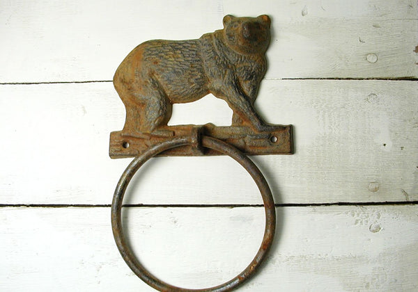 Rusty Bear Hitching Post Ring - Lodge Decor - Rustic Cabin Gift