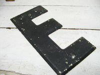 "Vintage Metal Letter E Sign Black Weathered Paint 7.5"" DIY Project - Free Ship"