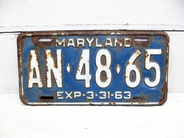 Vintage Maryland MD License Tag Plate - 1963 Blue AN 4865 Rusty - Free Ship - idugitup