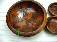 Boho Style Wooden Salad Bowl Set - Large Centerpiece - Hand Carved - idugitup