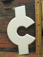"Vintage Metal Symbol Cent Money Dollar Sign  -  10"" Chippy White DIY Project - idugitup"