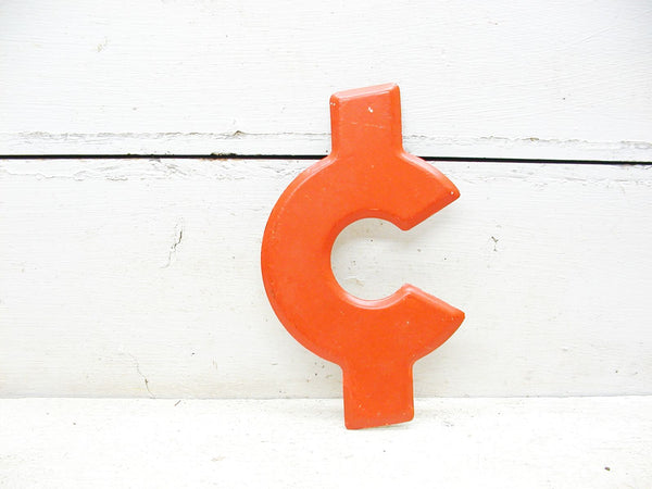 "Vintage Metal Symbol Cent Money Dollar Sign  -  7.5"" Orange DIY Project"