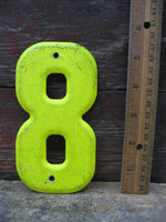 "Vintage Metal Chippy 8 Number Eight 5.5"" Chartreuse Tin Sign Free Ship"