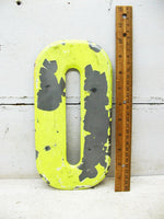 "Vintage Metal Chippy 0 Number Zero Letter O Sign 10"" Chartreuse Tin Sign Free Ship"