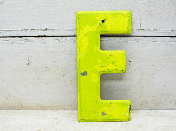 "Vintage Metal Letter E Sign Faded Chippy Paint 7 1/2"" DIY Project"