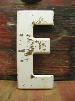 "Vintage Metal Letter E Sign Weathered Paint 10"" DIY Project - Free Ship"