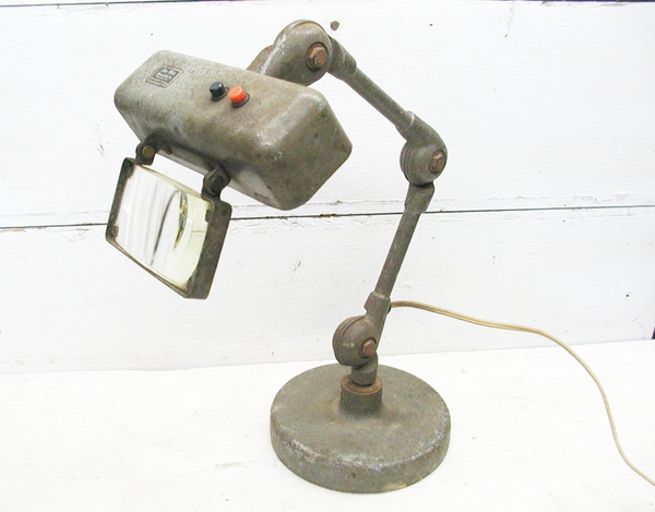 Vintage Stocker and Yale Industrial Desk Lamp - With Magnifier - Lite Mite - idugitup