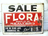 Vintage Flora Realty Sign - Flora Real Estate Sign - Vintage Signs - idugitup