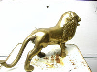 Vintage Brass Lion Figurine - African Decor - Jungle Theme - idugitup