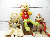 Vintage Set of Stuffed Toys - Plush Clown Sock Monkey Primitive Girl - idugitup