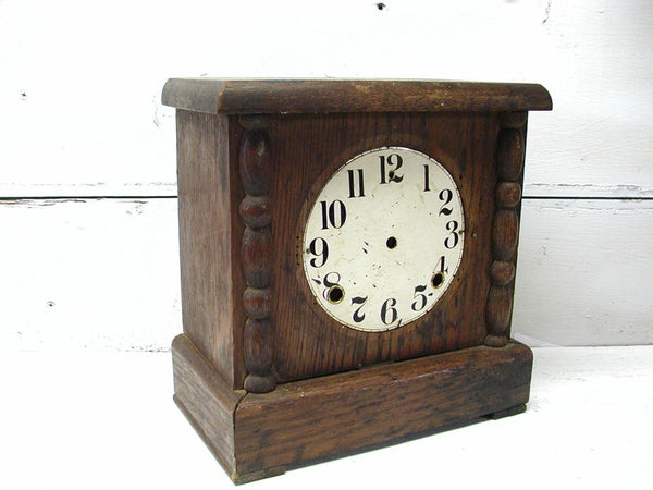 Vintage Wooden Clock Housing - French Cottage Project Piece Upcycle Clock Dial - idugitup