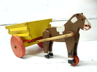 Folk Art Hand Made Toy Horse and Cart - Donkey Wagon - AAFA  Folk Art Wooden Toy - idugitup