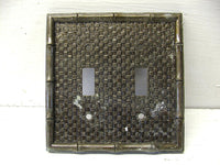 Vintage Dual Switch Plate Cover Rattan Bamboo Jungle - idugitup