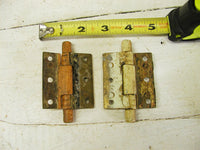 Set of 2 Art Deco Brass Barrel Hinges - Small Size Chippy Paint - Free Ship - idugitup