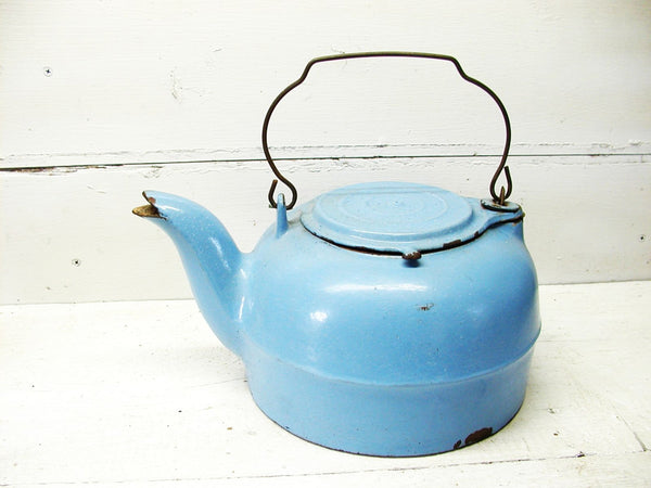 Vintage Cast Iron Kettle - Coffee Pot - Blue Enamel Robins Egg Enamelware French Country - idugitup
