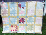 Patchwork Quilt - Fresh From An Old Farmhouse - Beautiful Colors - Cabin Decor Leaf Pattern - idugitup