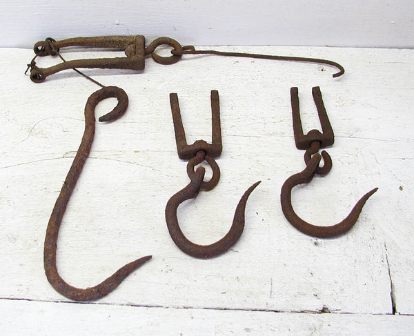 Vintage Forged Hooks - Iron Hooks and Pieces - Tobacco - Farm and Barn Hooks - idugitup