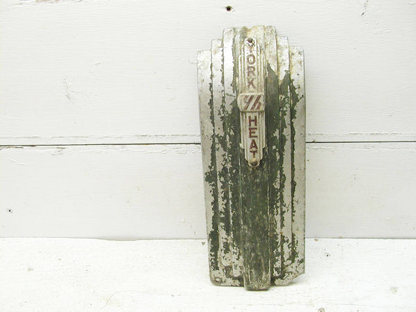 Art Deco Industrial Salvage - York Heat - Aluminum Badge - Project Upcycle Sign - idugitup