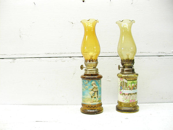 Pair Mini Oil Lamps - Religious - Last Supper - Little Drummer Boy - idugitup