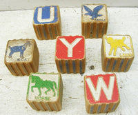Vintage Wooden Letter Animal Toy Blocks - DIY Country Project - idugitup