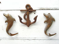 Cast Iron Anchor and Dolphins - Nautical Theme Decor - Rusty Wall Hooks - idugitup