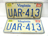 Virginia Retired License Tag Plate Set - Man Cave Bar Decor Matching Matched Set - idugitup