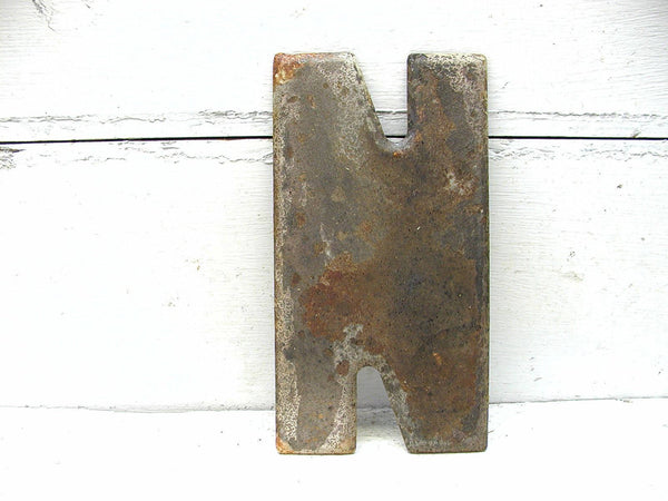 "Vintage Metal Letter N  -  7.5""  Tin Sign Marquee Rusty Chippy DIY - idugitup"