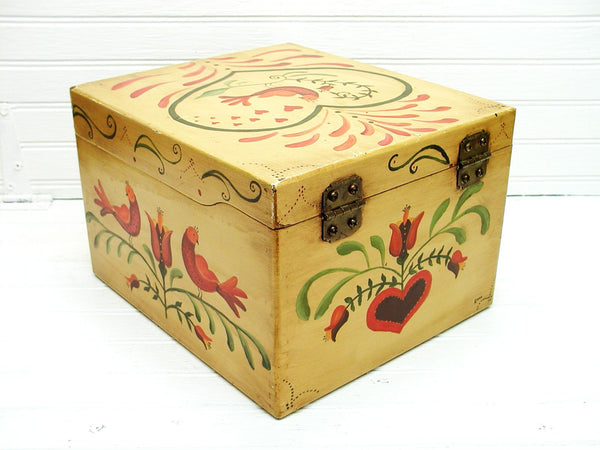 Primitive Wooden File Box - Hand Painted Recipe Box - Dutch Tole Painting AAFA - idugitup