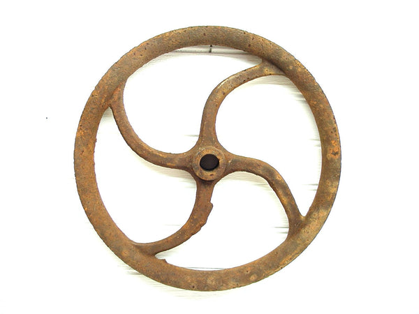 Vintage Iron Pulley Wheel - Industrial Pulley - Barn Farm Decor - Well Pulley - idugitup