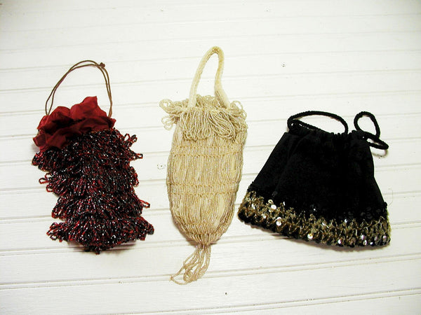 Vintage Beaded Flapper Handbags - Set of 3 - Clutch Bag Sachet - Roaring Twenties - idugitup