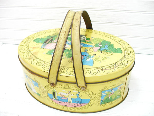 Vintage Yellow Biscuit Tin - Spring Theme Container - Kitchen Decor - idugitup