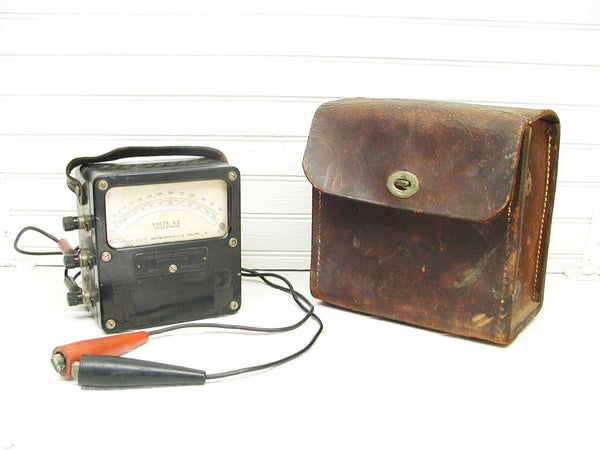 Industrial Gauge Test Meter Weston Volt Meter - Leather Case Model 433 - idugitup