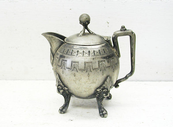 Reed and Barton Creamer - Aesthetic Egyptian Gorgeous - Lions Head - Marked - Plated - 19th Century - idugitup