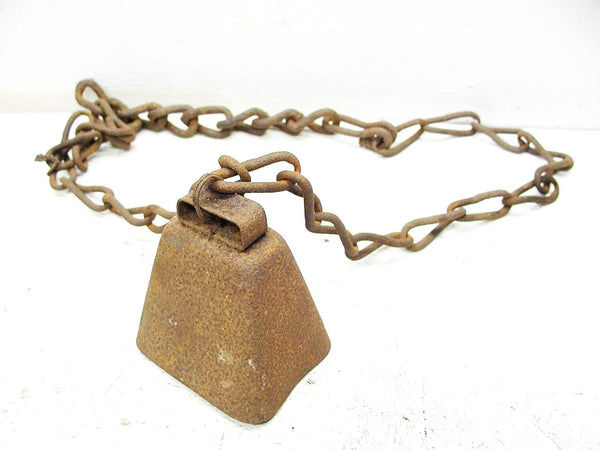 Vintage Iron Cow Bell - Old Cowbell on Chain - Farmhouse Decor - idugitup