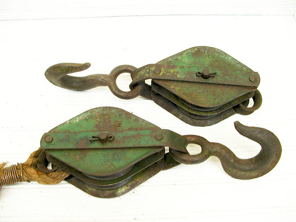 Vintage Pulleys - Matched Set -Industrial Iron Decor - Loft Build-Out - idugitup