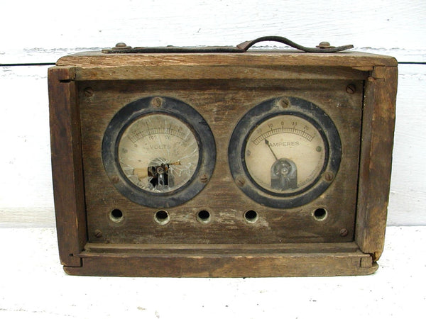 Industrial Decor - Gauges Ammeter Voltmeter - Wooden Case - idugitup