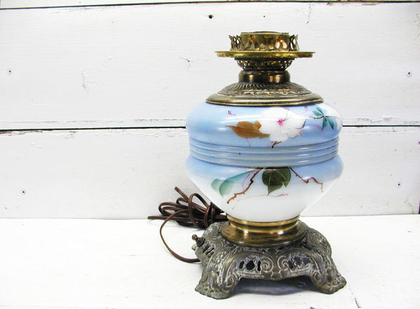 Antique Parlor Lamp - GWTW Style - Electric Lamp - Cast Iron Base - Victorian Lamp - idugitup